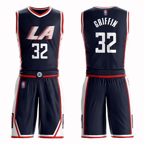 Swingman Men's Blake Griffin Navy Blue Jersey - #32 Basketball Los Angeles Clippers Suit City Edition