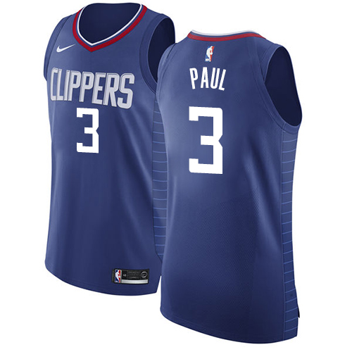 Authentic Men's Chris Paul Blue Jersey - #3 Basketball Los Angeles Clippers Icon Edition