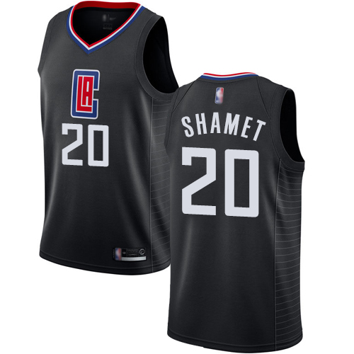 Authentic Men's Landry Shamet Black Jersey - #20 Basketball Los Angeles Clippers Statement Edition