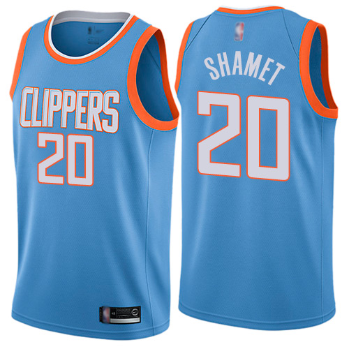 Authentic Men's Landry Shamet Blue Jersey - #20 Basketball Los Angeles Clippers City Edition