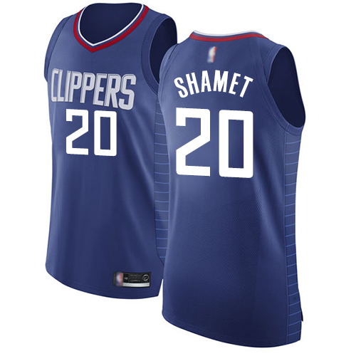 Authentic Men's Landry Shamet Blue Jersey - #20 Basketball Los Angeles Clippers Icon Edition