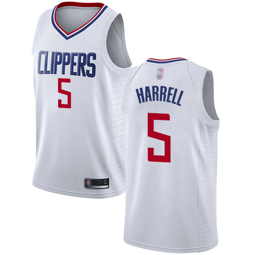 Authentic Men's Montrezl Harrell White Jersey - #5 Basketball Los Angeles Clippers Association Edition