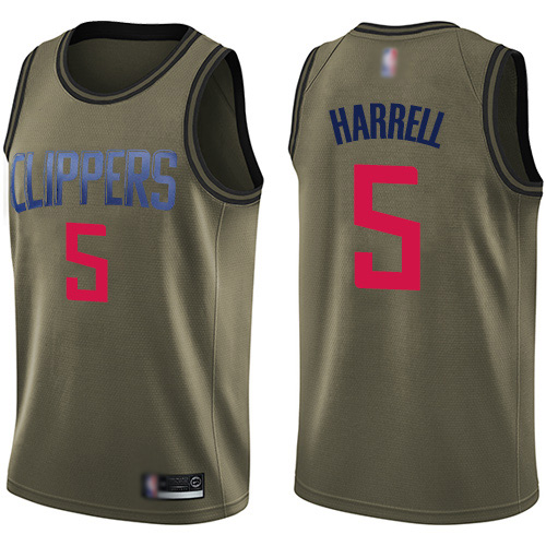 Swingman Men's Montrezl Harrell Green Jersey - #5 Basketball Los Angeles Clippers Salute to Service