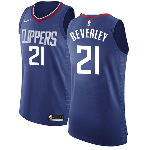 Authentic Men's Patrick Beverley Blue Jersey - #21 Basketball Los Angeles Clippers Icon Edition