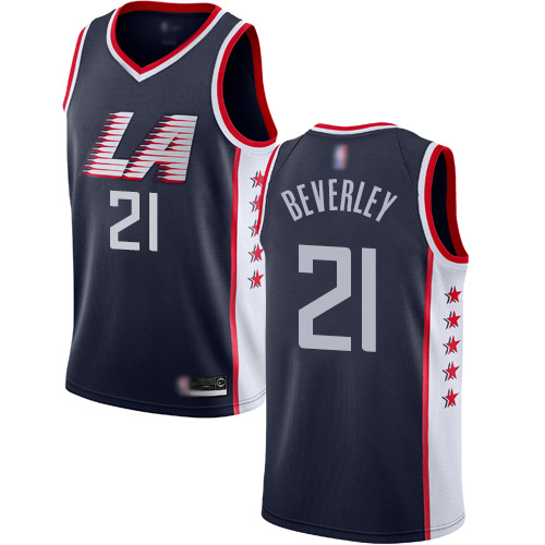 Authentic Men's Patrick Beverley Navy Blue Jersey - #21 Basketball Los Angeles Clippers City Edition