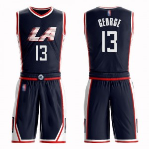 Swingman Men's Paul George Navy Blue Jersey - #13 Basketball Los Angeles Clippers Suit City Edition