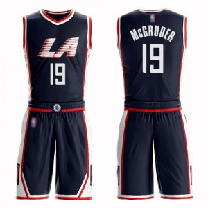 Swingman Men's Rodney McGruder Navy Blue Jersey - #19 Basketball Los Angeles Clippers Suit City Edition