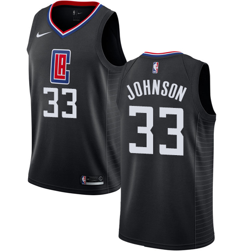 Authentic Men's Wesley Johnson Black Jersey - #33 Basketball Los Angeles Clippers Statement Edition