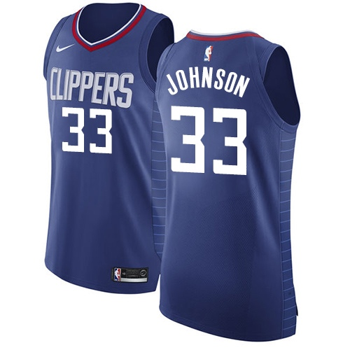 Authentic Women's Wesley Johnson Blue Jersey - #33 Basketball Los Angeles Clippers Icon Edition