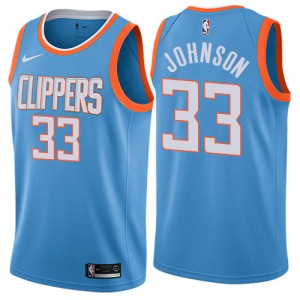 Swingman Men's Wesley Johnson Blue Jersey - #33 Basketball Los Angeles Clippers City Edition