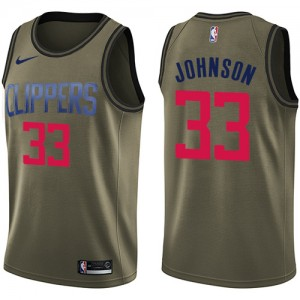 Swingman Men's Wesley Johnson Green Jersey - #33 Basketball Los Angeles Clippers Salute to Service