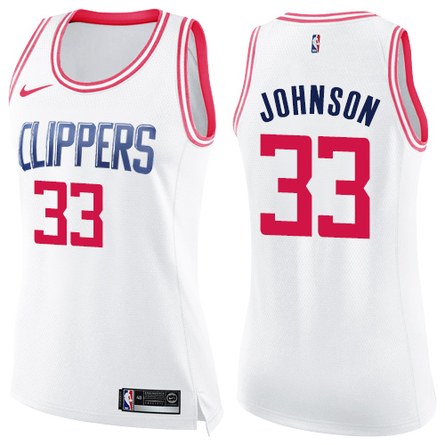 Swingman Women's Wesley Johnson White/Pink Jersey - #33 Basketball Los Angeles Clippers Fashion